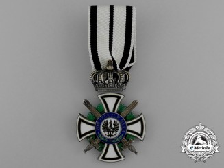 A Prussian House Order of Hohenzollern; Knight's Cross with Swords by Friedlander, Berlin
