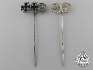 A Lot of Two Third Reich Period German Miniature Medals, Awards and Decorations Stick Pins