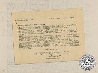 A 1935 Invitation to the Patrons of the SS-Motorstandarte 20 to a Social Dinner