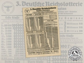 A 1940 German Reich Lottery Prize Table
