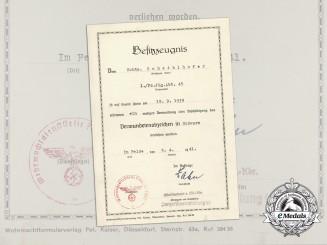 A 1939 Black Grade Wound Badge Document to the 1st. Panzerjäger Abteilung 45