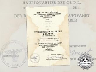 A War Merit Cross 2nd Class with Swords Award Document to Red Cross Helper Gerhard Stettin