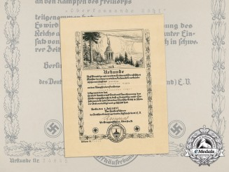 Germany, SS. A Freikorps Document Signed by SS Gruppenführer; Recipient of the PLM with Oak Leaves