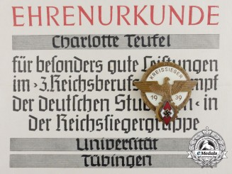 A Kreissieger Badge with Matching Honourary Award Certificate Presented to Charlotte Teufel