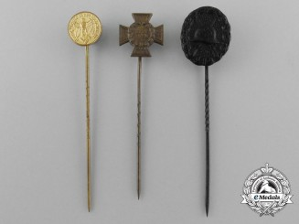 A Lot of Three Third Reich Period German Miniature Awards, Medals, and Decorations Stick Pins