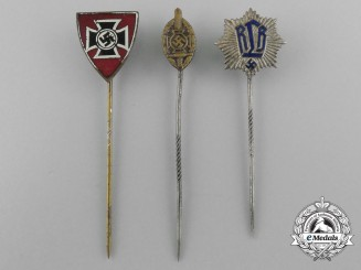 A Lot of Three Reich Period German Miniature Awards, Medals, and Decorations Stick Pins