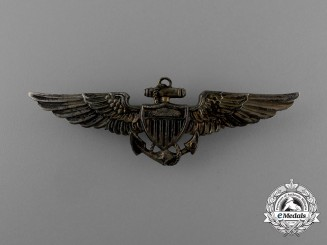 A 1940's United States Navy Reserve Pilot Sterling Silver Wing