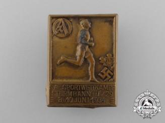A 1934 SA Sturmbann II/29 Sports Championships Badge