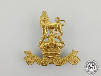A British Royal Marines Band Pouch Badge with King's Crown