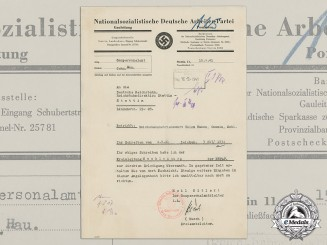 A Wartime Letter from the NSDAP Gau Administration to the Reich Rail Road Company