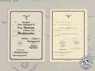 Two promotion certificates to Flak Oberwachtmeister Franz Baumann