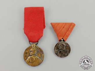 Serbia, Kingdom. Two Milos Obilic Miniature Bravery Medals