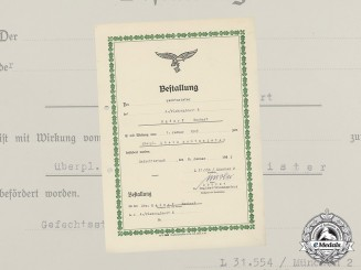 A Promotion Document to Flak Oberwachtmeister Egdorf, 4th Battery of Flak Regiment 6