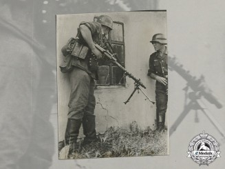 Germany. A Wartime Large Photo of Two Heer Soldiers Fighting Russian Snipers