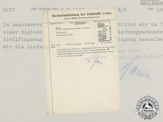 A 1937 Letter from the Luftwaffe Sales Department Concerning a Civilian Pilot's Badge