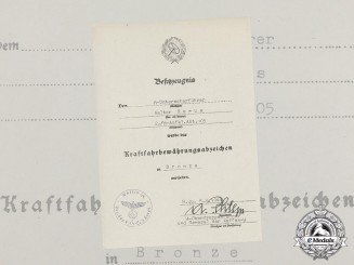 Germany. A Bronze Driver's Proficiency Badge Document to SS-Unterscharführer