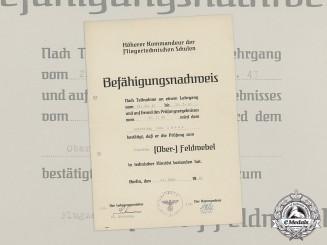 A 1943 Flying Technical School Qualification Award Document