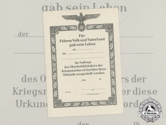 A Mint and Unused Kriegsmarine Death Notice