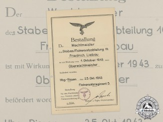 A Luftwaffe Promotional Document Promoting Friedrich Liebau to Flak Master Sergeant