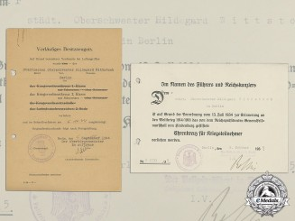 Two Award Documents (War Merit Cross with Swords) to Senior Nurse Hildegard Wittstock