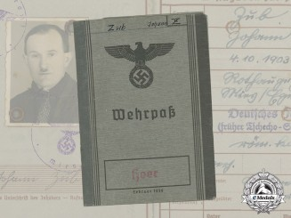 A Wehrpaß to Sudetenland-Born Gefreiter; Messenger Wounded in Russia