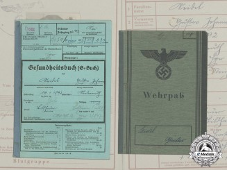 A Wehrpaß & Health Book to POW Guard Gustav Seidel