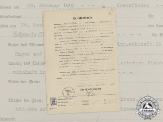 Germany. A Wartime Marriage Certificate, c.1941