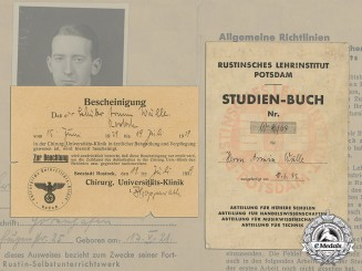 Germany. A Wartime Rustin Educational Institute ID card & Doctor's Note to Armin Wulle