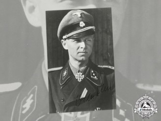 "Germany. A Post War Signed Photo of KC winner & SS-Obersturmführer Willi Hein, ""Wiking"""