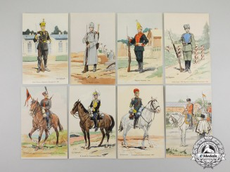 Russia, Imperial. Nine First War Period Uniformed Soldiers Series Postcards