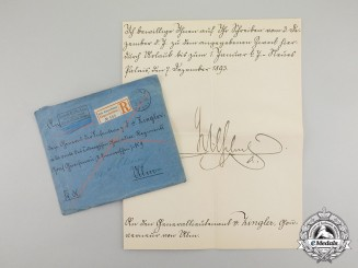 Germany, Imperial. A Signed Letter from Emperor Wilhelm to Governor of Ulm