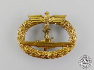 """A Kriegsmarine Submarine War Badge, Maker Marked """"Schwerin Berlin 68"""""""