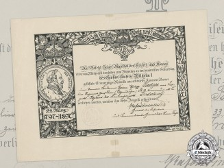 An 1897 Emperor Wilhelm Centenary Award Document to First Lieutenant Bachfeld