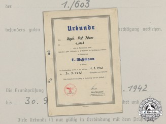 "An Appointment Document for Obergefreiter Johann Kuck to Flak ""E-Messmann"""