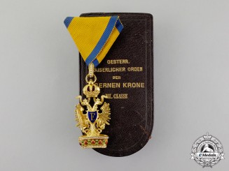 An Austrian Order of the Iron Crown in Gold by Rothe; Third Class with Case