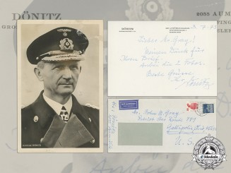 A Post War Signed Letter by Dönitz with Wartime Picture Postcard