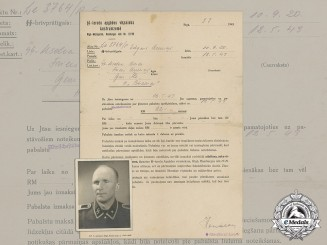 A Latvian Waffen-SS Social Assistance Certificate and Portrait