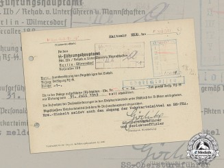 "Germany. A Rehabilitation Letter for SS-Grenadier-Ausbildungs-Bataillon ""Ost"""