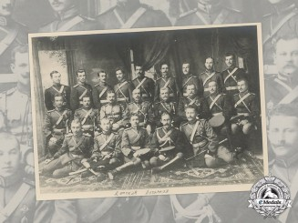 Russia, Imperial. A Soldiers' Studio Group Portrait Photograph
