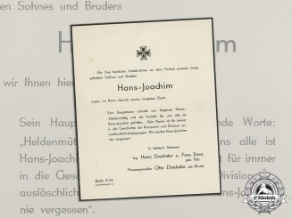 A Thank You Note for an condolence Letter Upon the Death of Soldier Hans-Joachim Drechsler