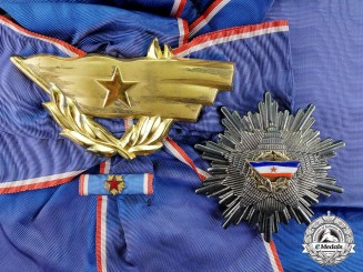 Yugoslavia. An Order of the Flag, I Class Grand Cross Awarded to Mexican Senator Mena Brito