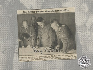 A Wartime Newspaper Clipping Signed by AH And Franz Halder