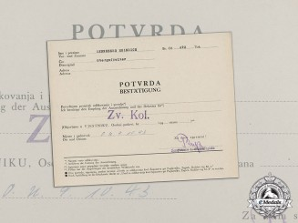 Germany. A Croatian/German Confirmation Document for the Crown of King Zvonimir to Obergefreiter Renneberg