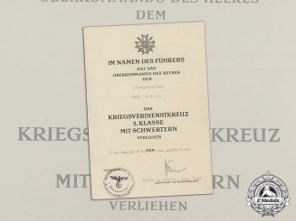 Germany, Heer. A War Merit Cross 2nd Class with Swords Document to Obergefreiter