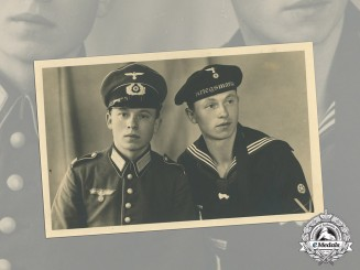 Germany. A Wartime Studio Photo of two Wehrmacht Brothers, Heer and Kriegsmarine