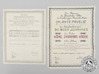 A Croatian King Zvonimir Award Document to a Kriegsmarine Officer