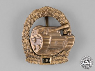 Germany, Wehrmacht. A Special Grade Tank Assault Badge for 100 Engagements, 1957 Version