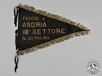Italy, Kingdom. An Andria VIII Sector of Palma Fascist Pennant