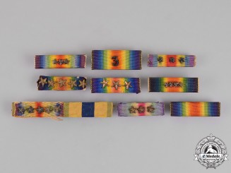 United States. A Lot of Nine First War Ribbon Bars