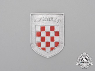 "A Second War Croatian ""Hrvatska"" Wehrmacht Heer (Army) Volunteer Shield"